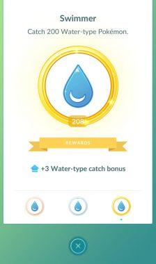 Бонус за золотую медаль водяных покемонов в игре Pokemon GO