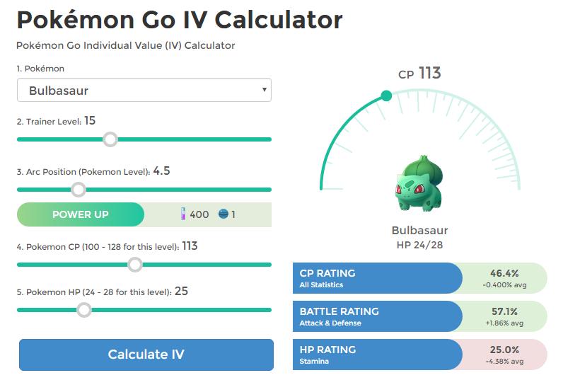 IV калькулятор для игры Pokemon GO