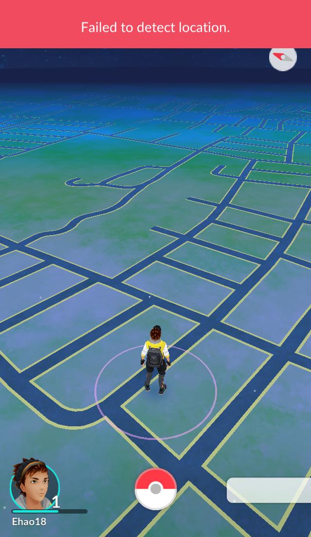 Так выглядит ошибка failed to detect location в Покемон Гоу